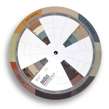 Roue Sedus qui permet des sélectionner les tons d'une pièce pour associer les couleurs.