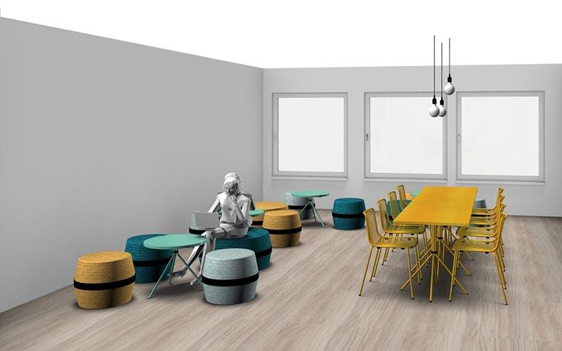 Aperçu du plan 3D de la cuisine et espace cosy.