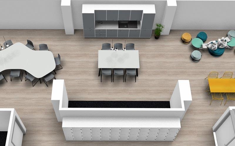 Aperçu du plan 3D du réfectoire et cuisine.