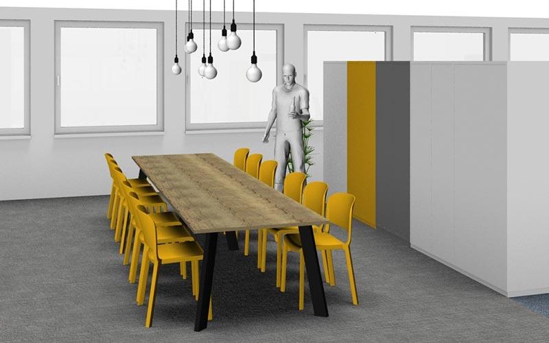 Aperçu du plan 3D du réfectoire et des tables.